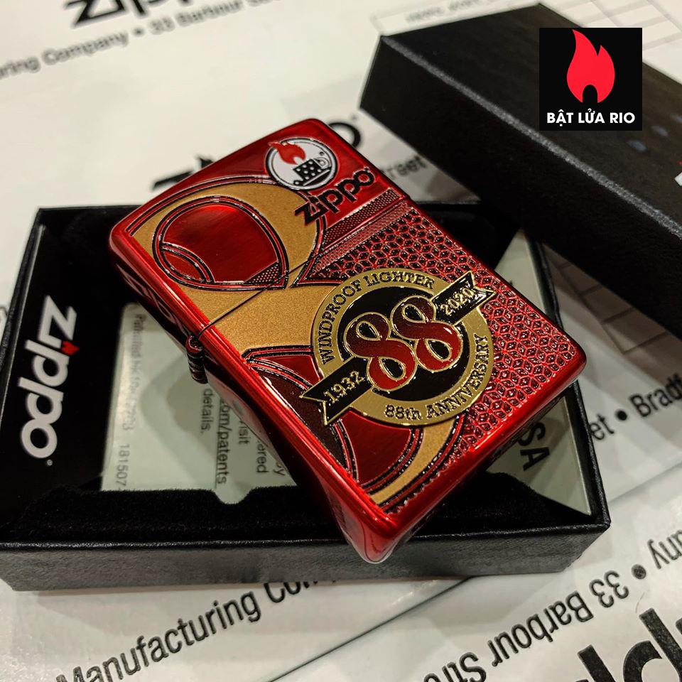 Zippo 88Th Anniversary Asia Red Color Clear Coating - Zippo Bản Đỏ Bóng Kỷ Niệm 88 Năm Ra Đời Bật Lửa Zippo - Zippo ZA-2-147B 3