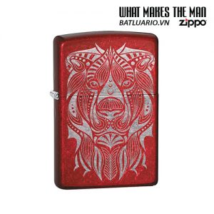 Zippo 49109 - Zippo Lion Tattoo Design Candy Apple Red