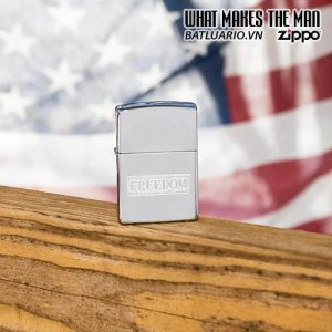 Zippo 49129 - Zippo Etched Freedom Design High Polish Chrome 1