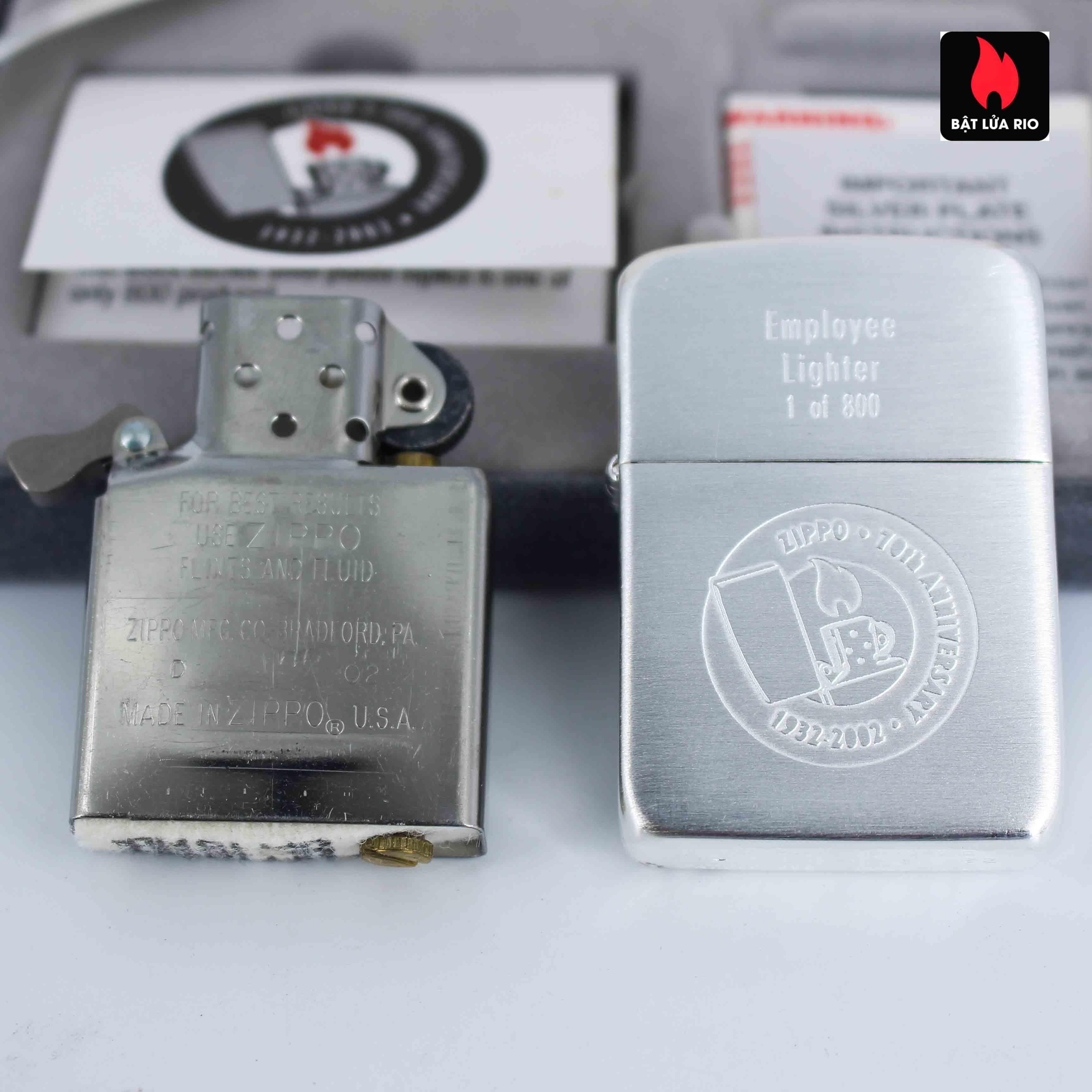 Zippo 2002 - 70th Anniversary - Employee Lighter 1 of 800 8