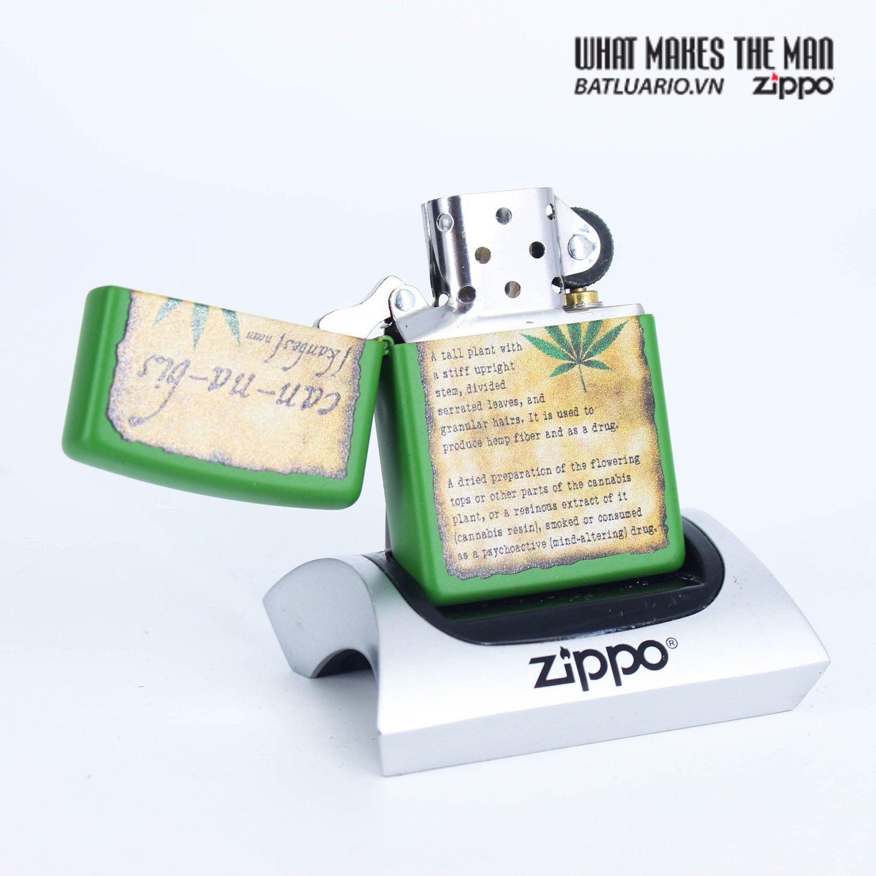 Zippo 49119 - Zippo Cannabis Design Moss Green Matte 2