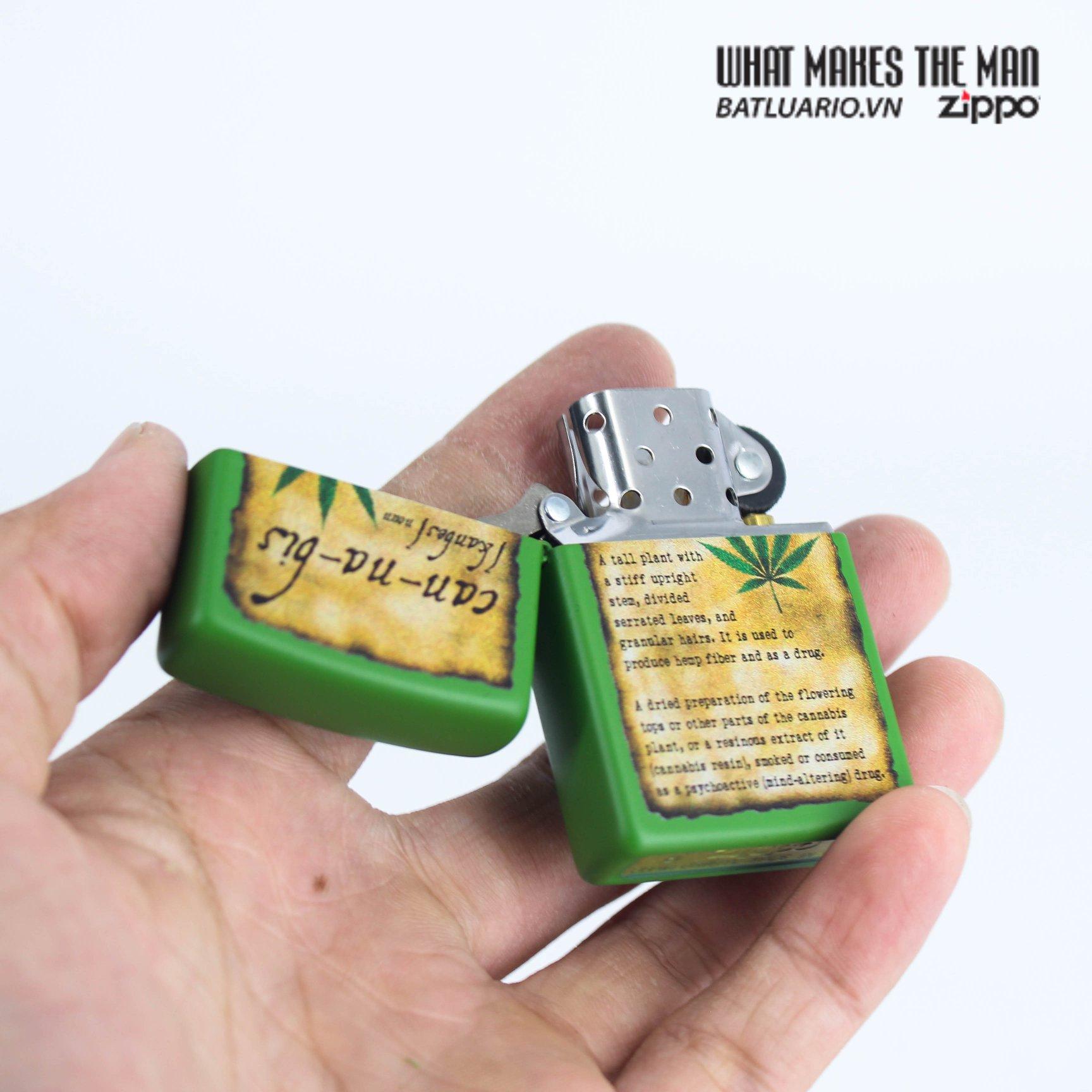 Zippo 49119 - Zippo Cannabis Design Moss Green Matte 7