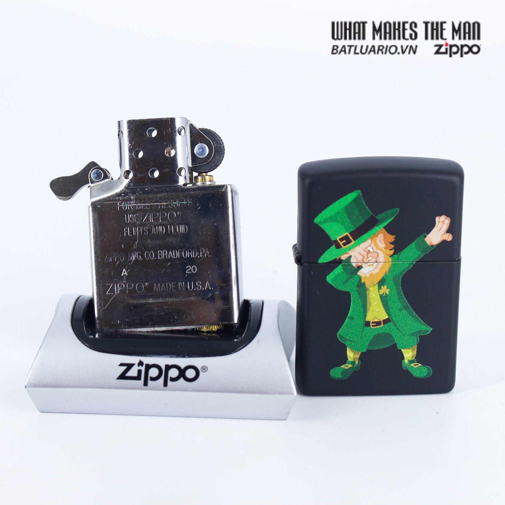 Zippo 49124 - Zippo Dabbing Leprechaun Black Matte 6