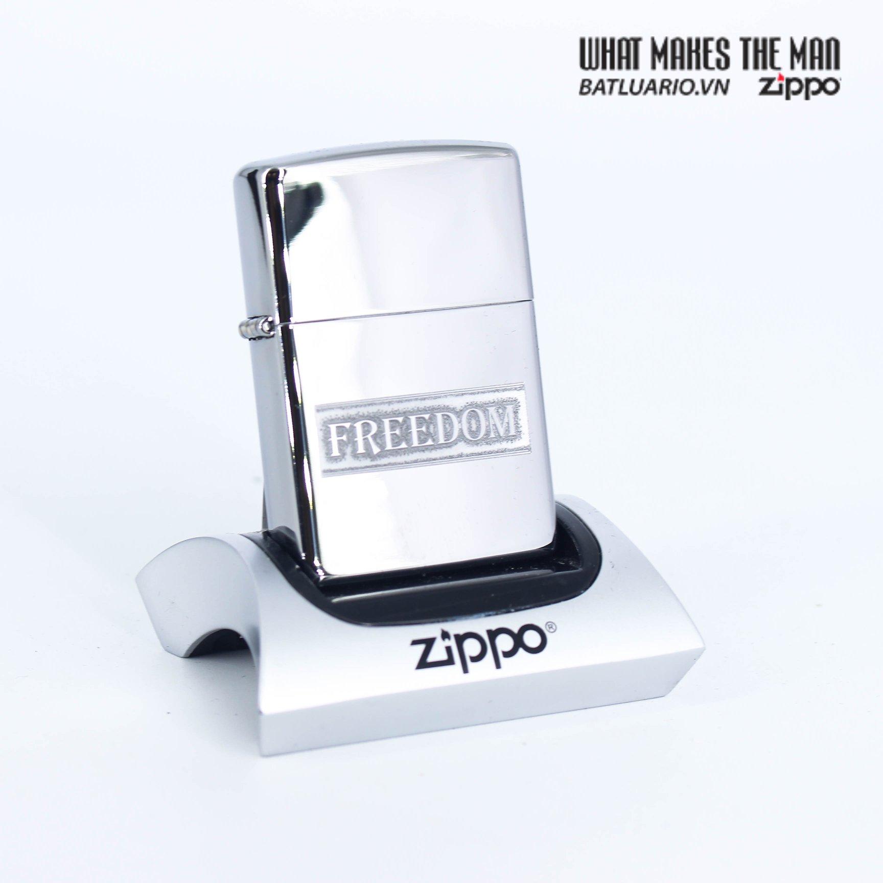 Zippo 49129 - Zippo Etched Freedom Design High Polish Chrome 1