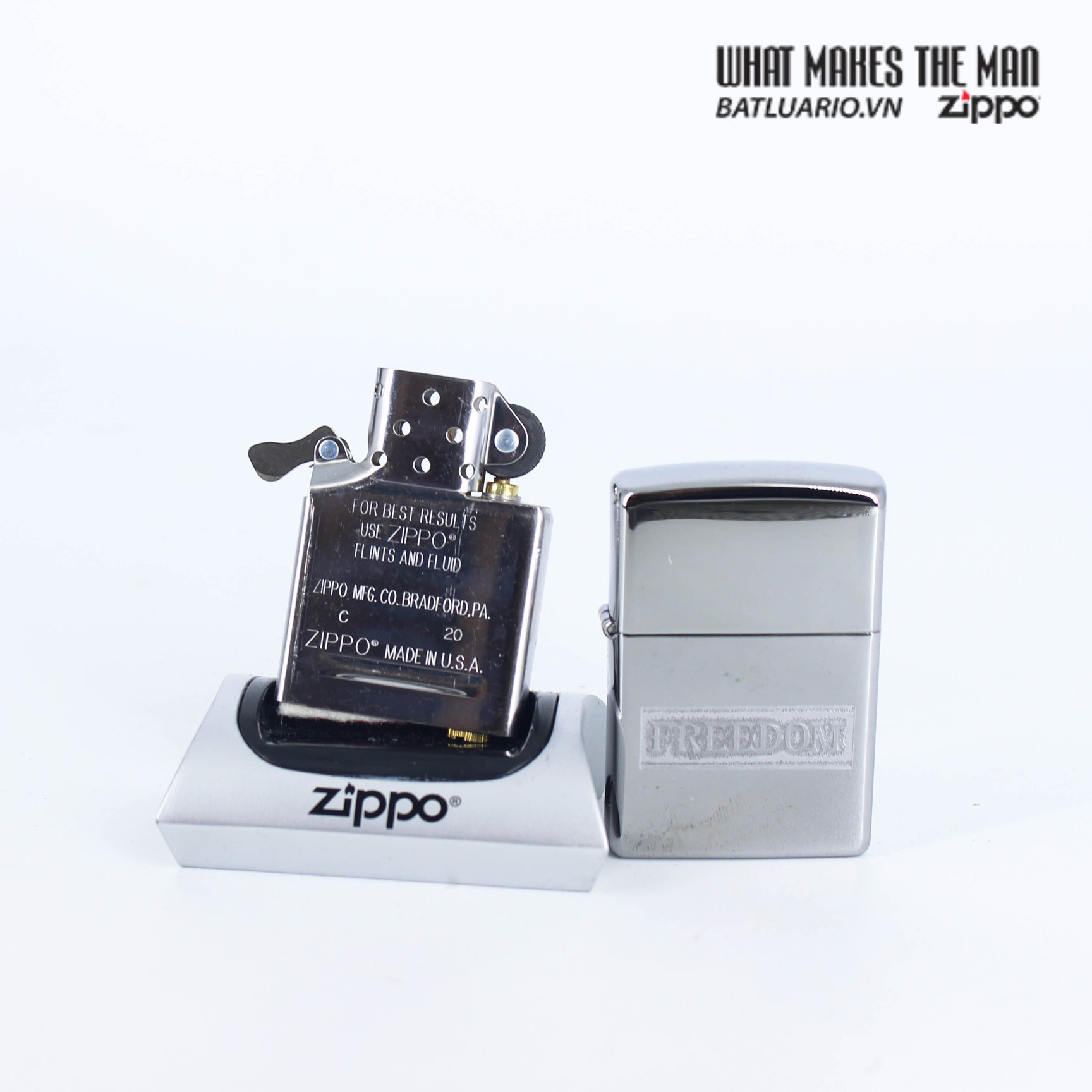 Zippo 49129 - Zippo Etched Freedom Design High Polish Chrome 7