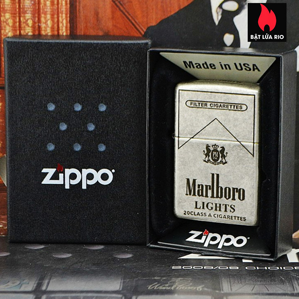 Zippo Bạc Giả Cổ 121FB Khắc Marlboro Light 5 Mặt - Zippo 121FB.MARL 7