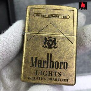 Zippo Đồng Vàng Giả Cổ 201FB Khắc Marlboro Light 5 Mặt - Zippo 201FB.MARL