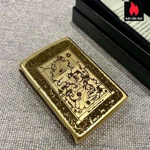Zippo Gold Dust 207G Khắc Trò Chơi Game Of Thrones 5 Mặt - Zippo 207G.GAME 1
