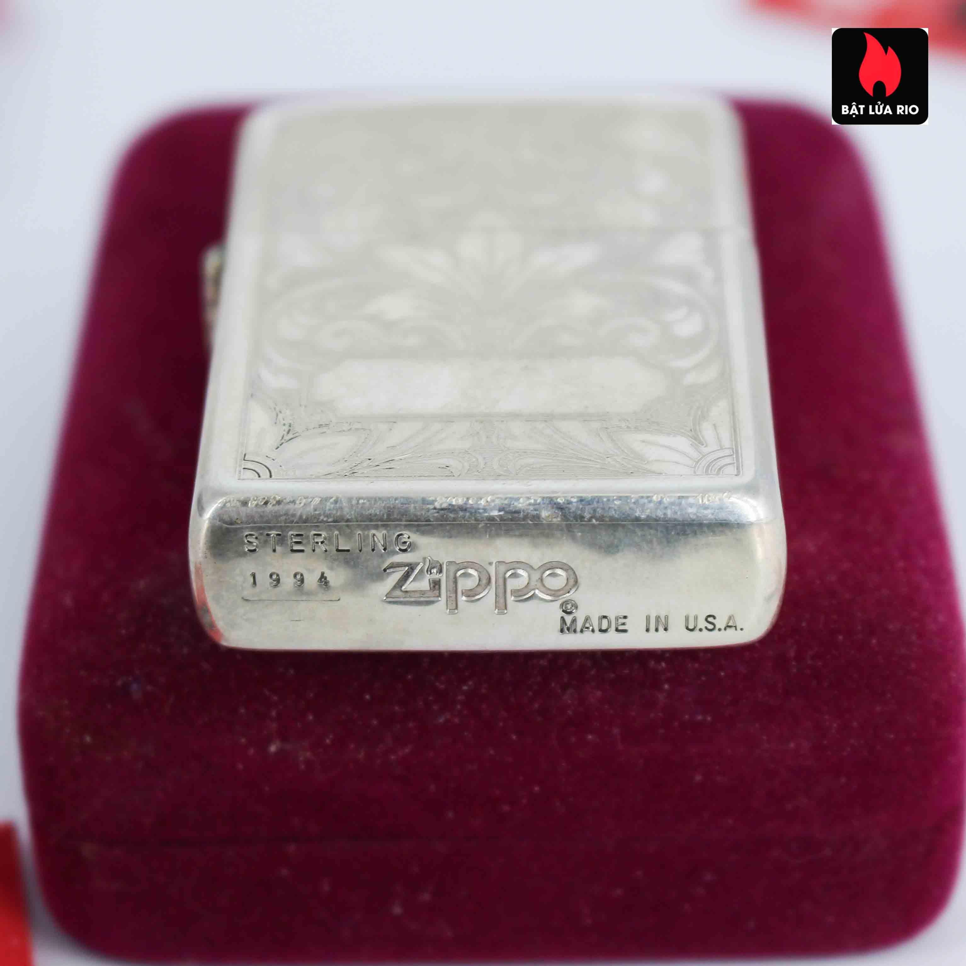 Zippo La Mã 1994 - Sterling Silver - Zippo Sterling Floral 6
