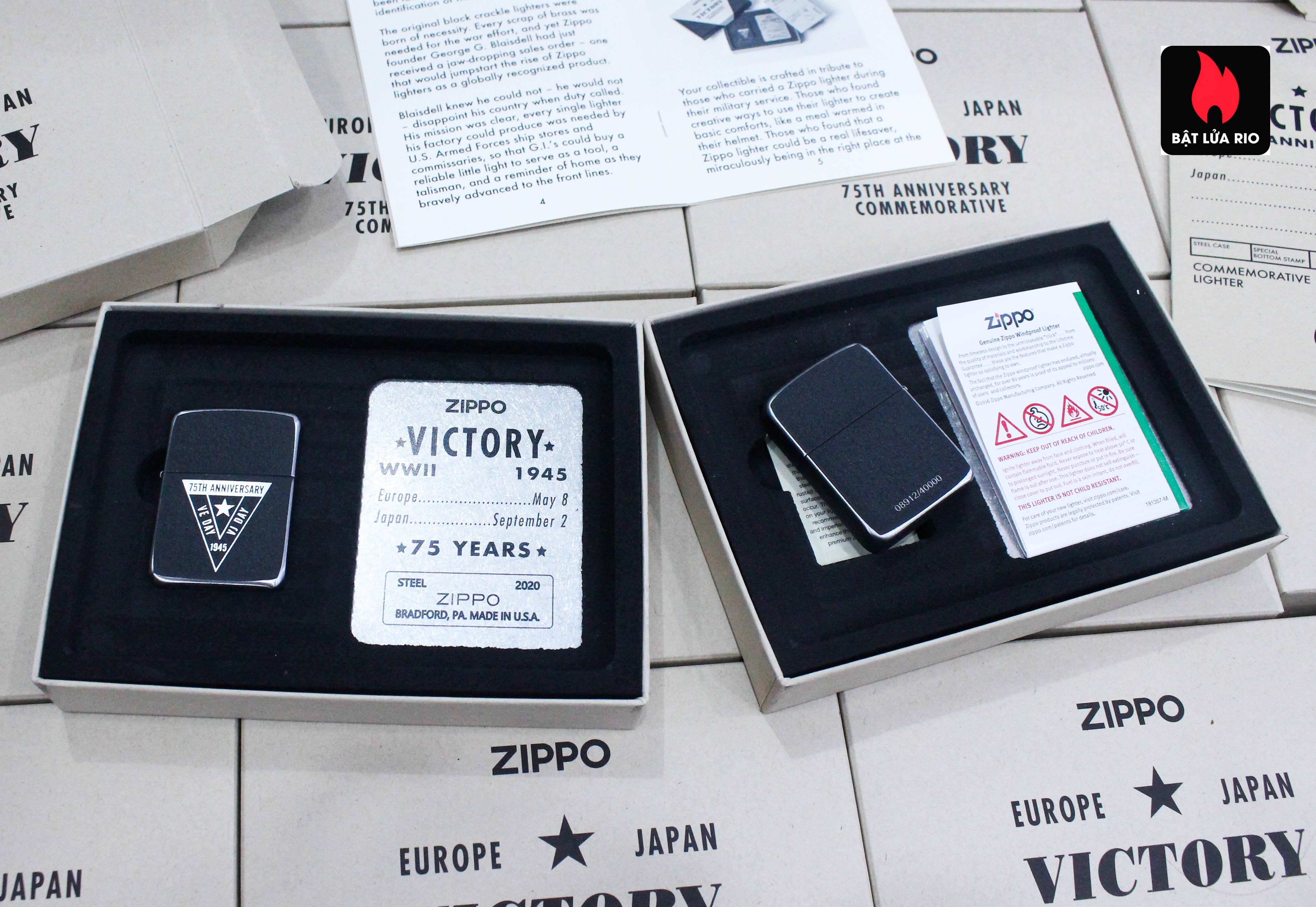 Zippo VE/VJ 75th Anniversary Collectible Steel Case - Zippo Victory in Europe & Japan Collectible Lighter - Zippo 49264 34