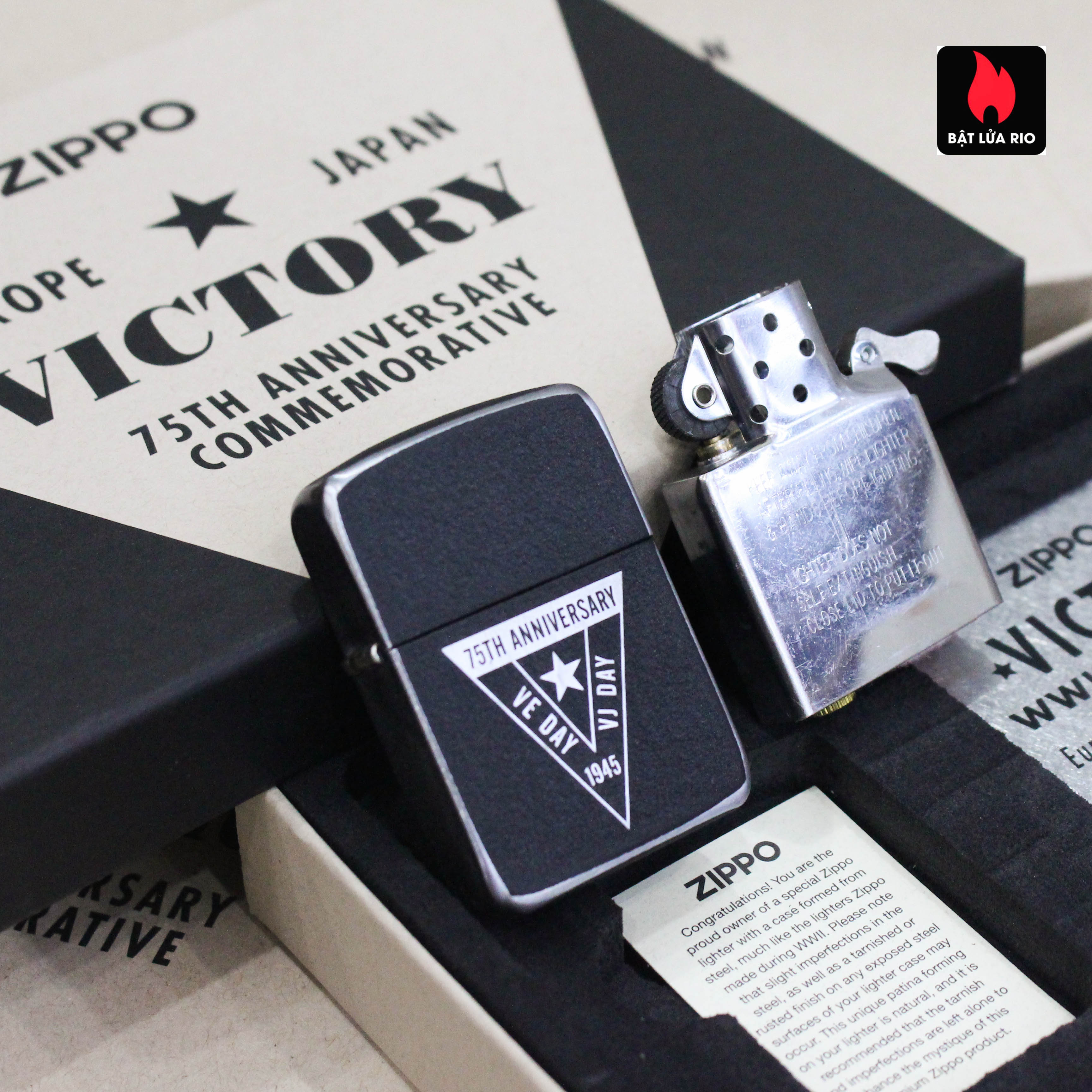 Zippo VE/VJ 75th Anniversary Collectible Steel Case - Zippo Victory in Europe & Japan Collectible Lighter - Zippo 49264 48