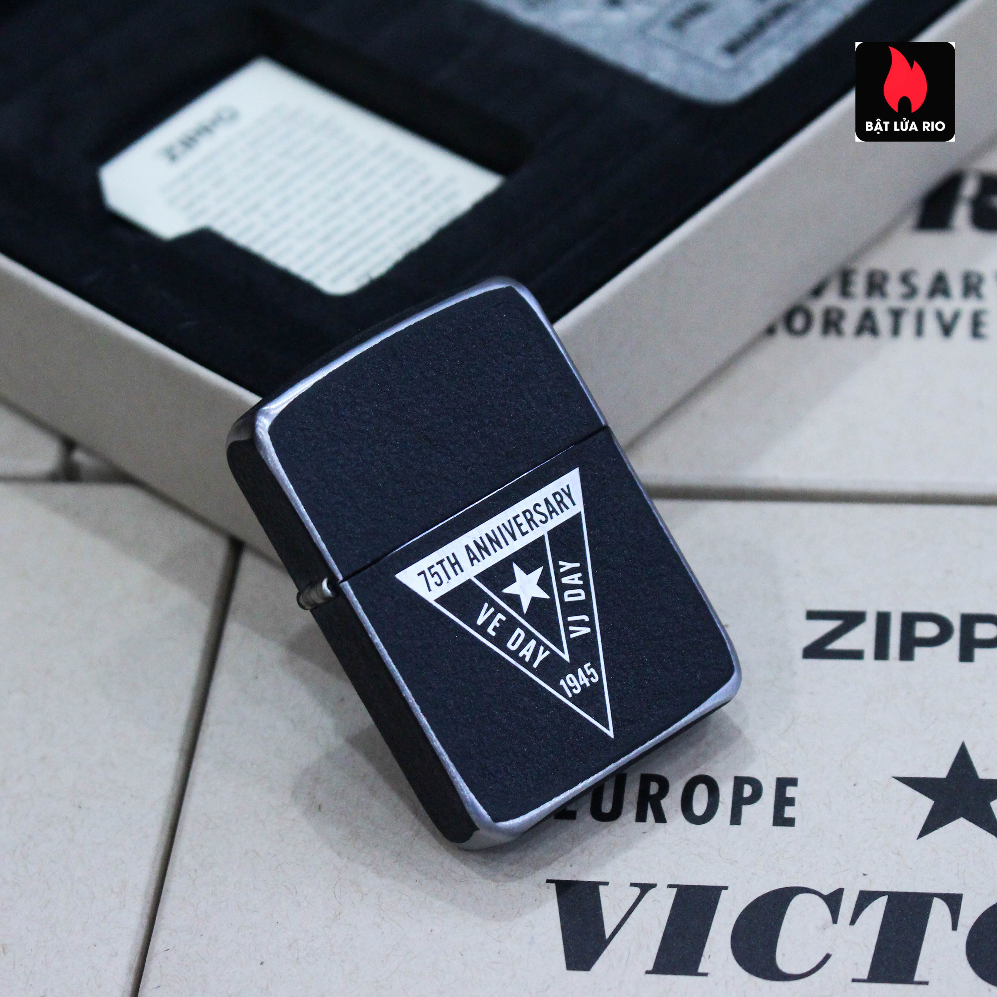 Zippo VE/VJ 75th Anniversary Collectible Steel Case - Zippo Victory in Europe & Japan Collectible Lighter - Zippo 49264 51