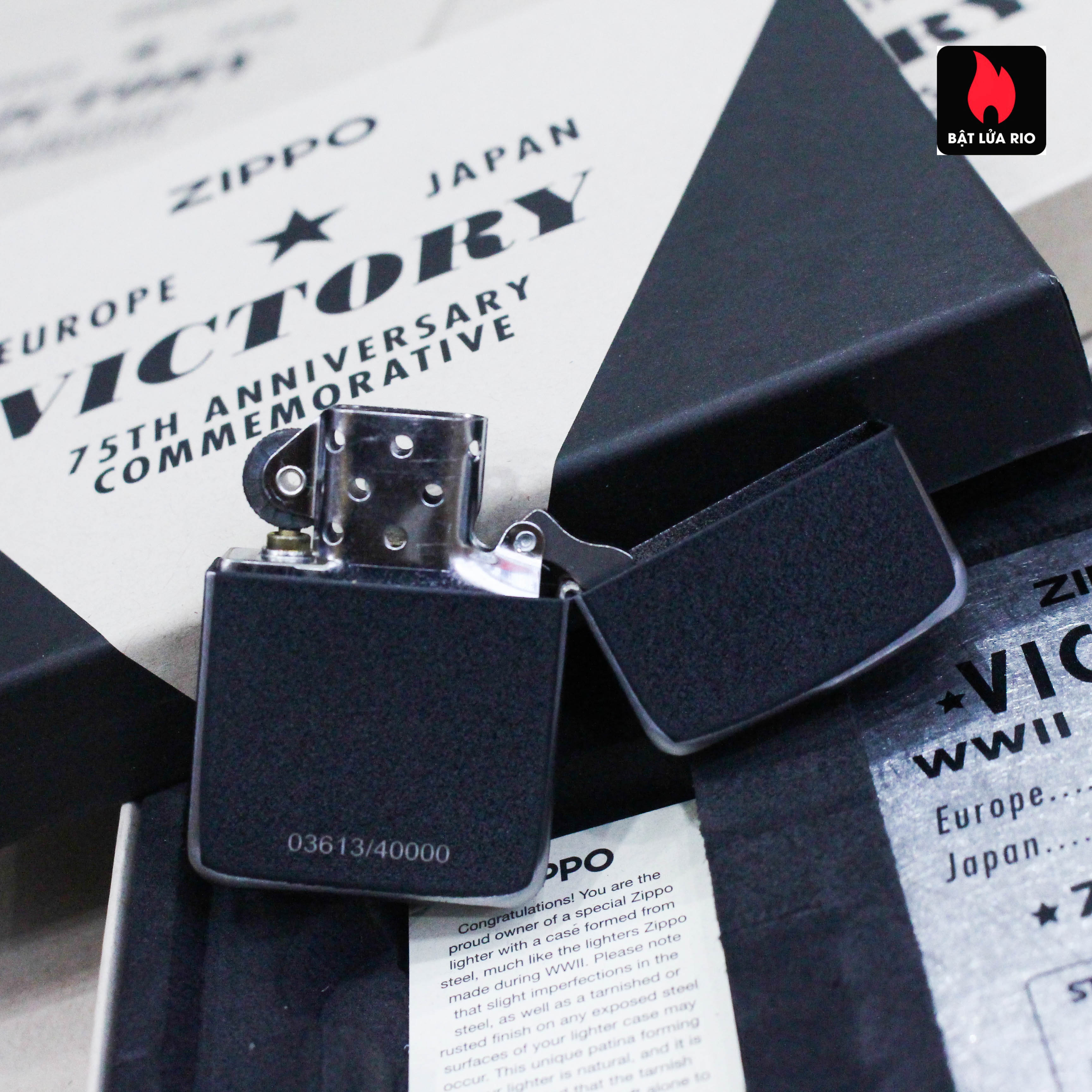 Zippo VE/VJ 75th Anniversary Collectible Steel Case - Zippo Victory in Europe & Japan Collectible Lighter - Zippo 49264 56