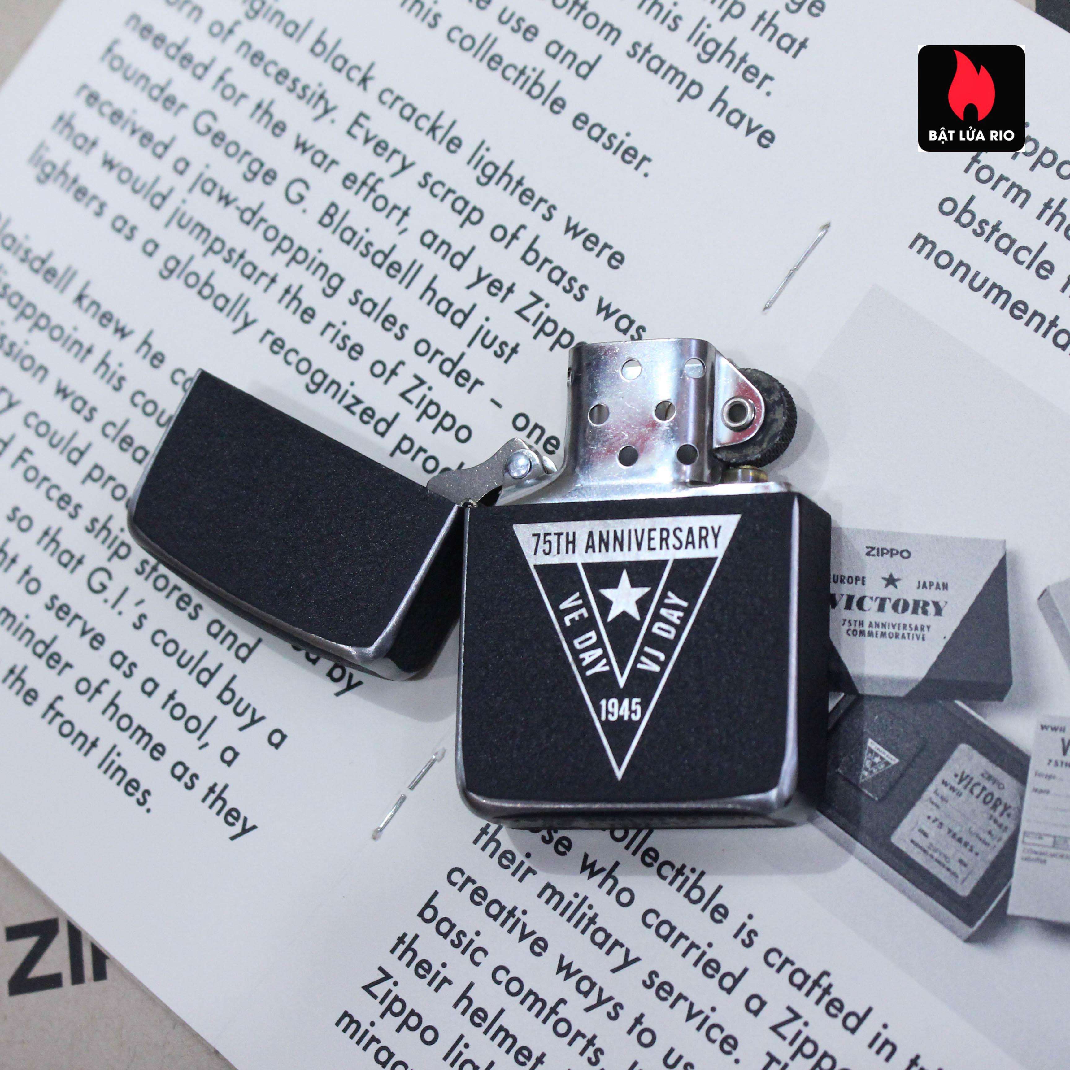 Zippo VE/VJ 75th Anniversary Collectible Steel Case - Zippo Victory in Europe & Japan Collectible Lighter - Zippo 49264 57