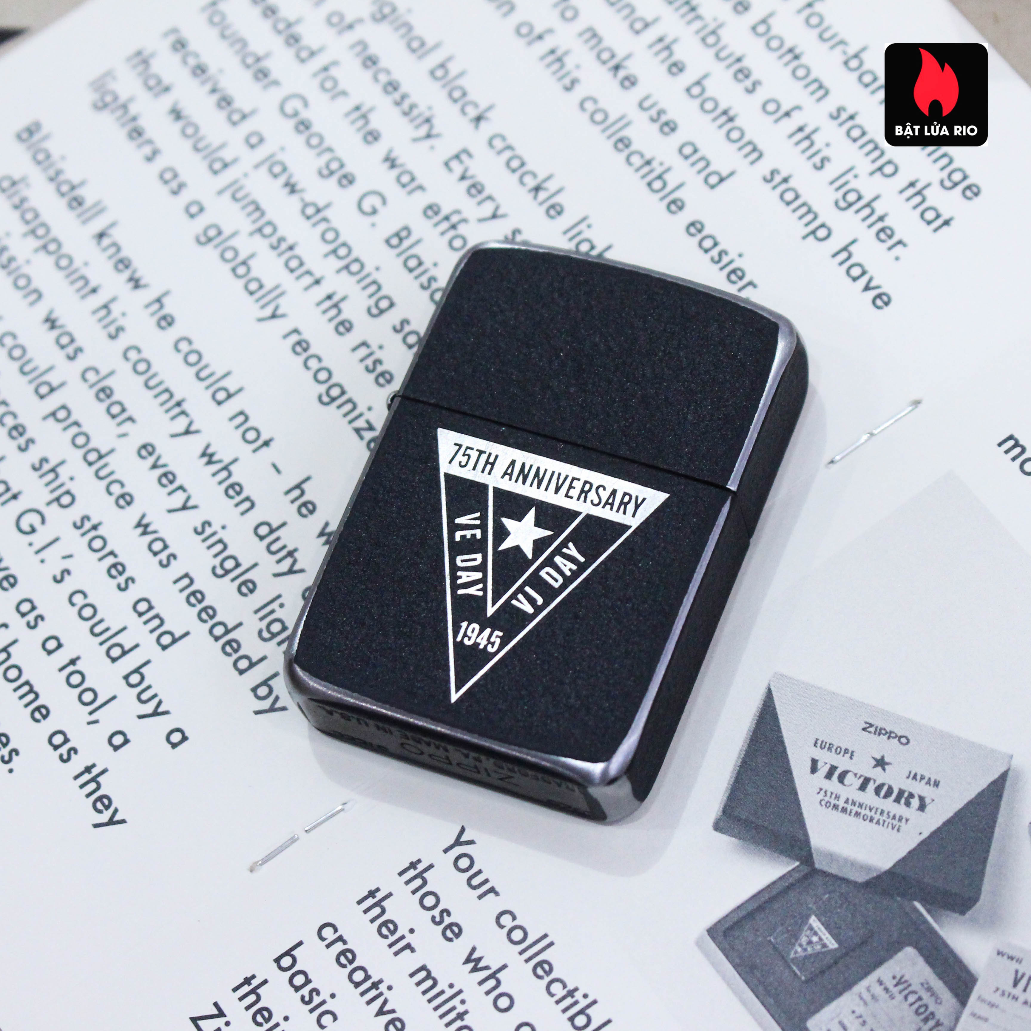 Zippo VE/VJ 75th Anniversary Collectible Steel Case - Zippo Victory in Europe & Japan Collectible Lighter - Zippo 49264 58
