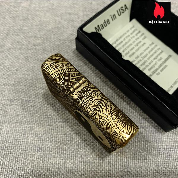 Zippo Gold Dust 207G Khắc Bát Quái Âm Dương Ngũ Hành 4 Mặt - Zippo 207G.AMDUONG03 7
