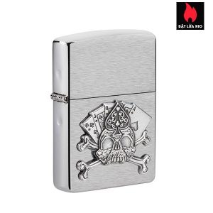 Zippo 49293 - Zippo Cards and Skull Emblem Brushed Chrome