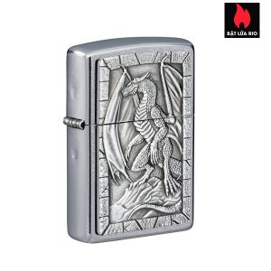 Zippo 49296 - Zippo Dragon on Rock Emblem Street Chrome