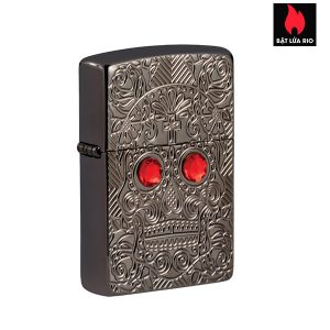 Zippo 49300 - Zippo Day of the Dead Skull Armor High Polish Black Ice