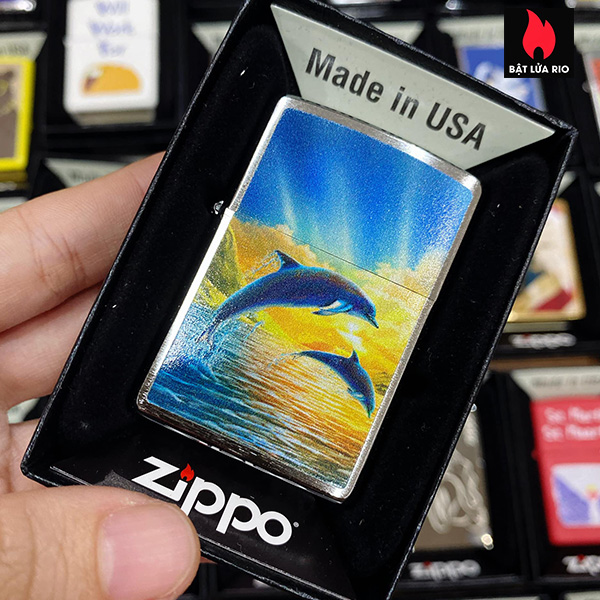 Zippo 200 Dolphins In Sunset