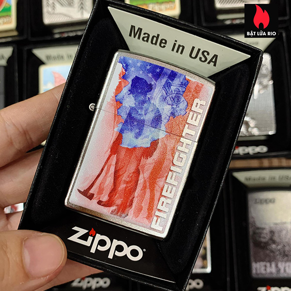 Zippo 205 Fire Fighter Flag Shield