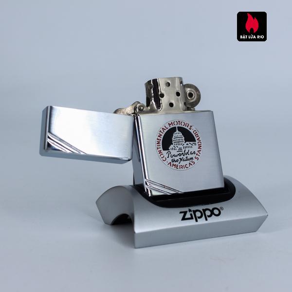 HIẾM – Zippo Xưa 1936 Metallique – Continental Motors – Bản Lề 4 Chấu – Ruột Pitton 14 Lỗ 6