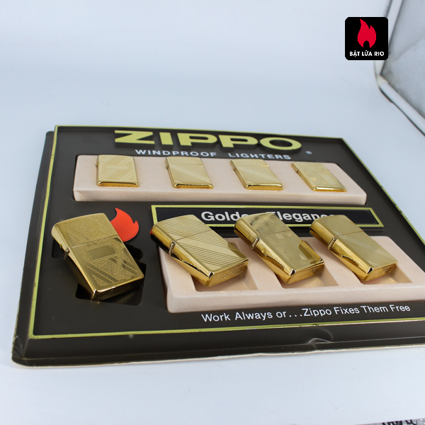 Set Zippo - Zippo La Mã 1993-1994 - Gold Plate - Golden Elegance 9