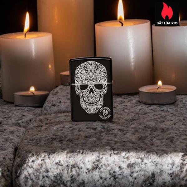 Zippo 49143 - Zippo Anne Stokes Fancy Skull High Polish Black 1