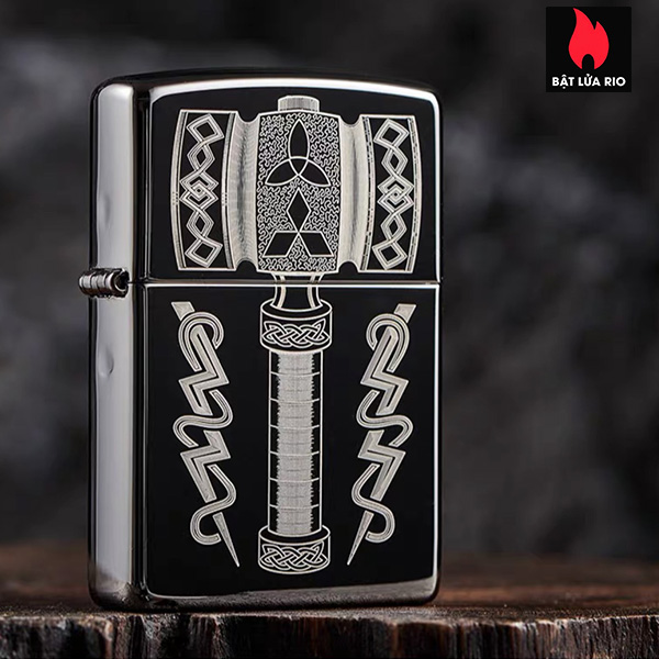 Zippo 49404 – Zippo Thor's Hammer Design Black Ice® 7