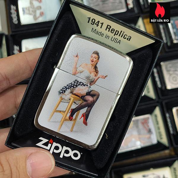 Zippo 1941 Pin Up Girl On Stool