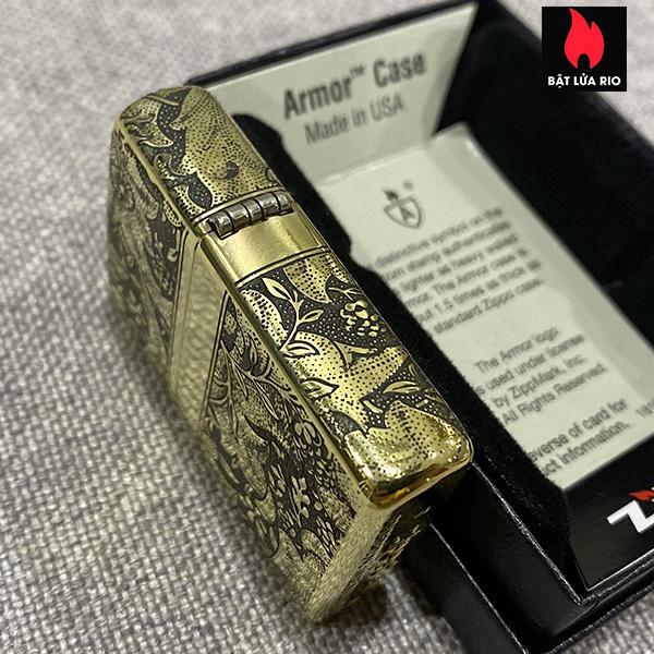 Zippo Armor Vỏ Dày Đồng Vàng Bóng Khắc Hoa Văn Luxury 4 Mặt - Zippo 169.LUXURY4M 10