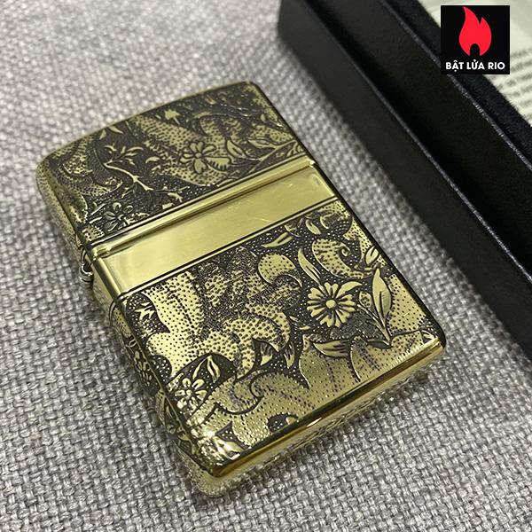 Zippo Armor Vỏ Dày Đồng Vàng Bóng Khắc Hoa Văn Luxury 4 Mặt - Zippo 169.LUXURY4M 11