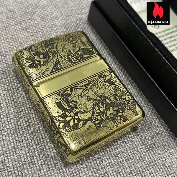 Zippo Armor Vỏ Dày Đồng Vàng Bóng Khắc Hoa Văn Luxury 4 Mặt - Zippo 169.LUXURY4M 14