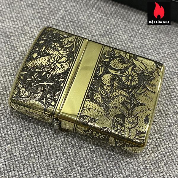 Zippo Armor Vỏ Dày Đồng Vàng Bóng Khắc Hoa Văn Luxury 4 Mặt - Zippo 169.LUXURY4M 16