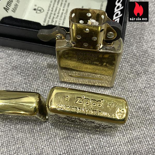 Zippo Armor Vỏ Dày Đồng Vàng Bóng Khắc Hoa Văn Luxury 4 Mặt - Zippo 169.LUXURY4M 19