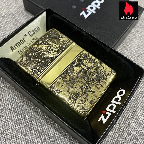 Zippo Armor Vỏ Dày Đồng Vàng Bóng Khắc Hoa Văn Luxury 4 Mặt - Zippo 169.LUXURY4M 2