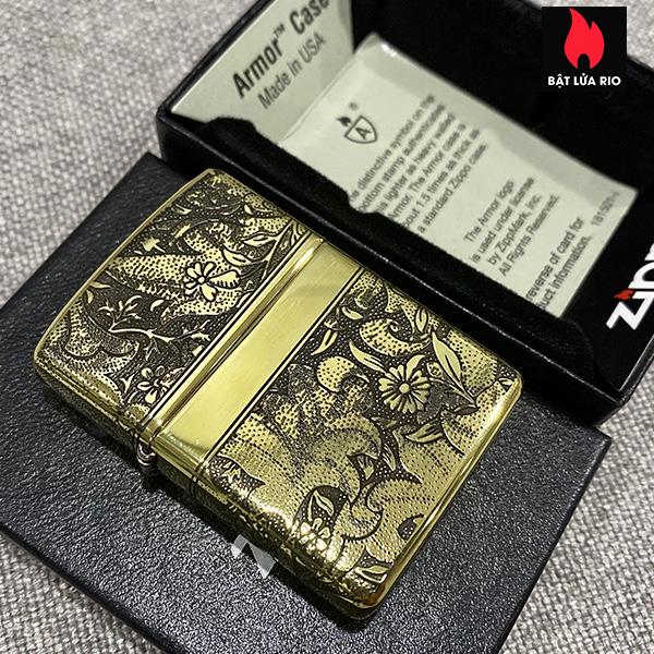 Zippo Armor Vỏ Dày Đồng Vàng Bóng Khắc Hoa Văn Luxury 4 Mặt - Zippo 169.LUXURY4M 4