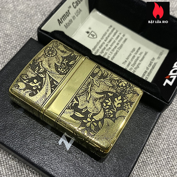 Zippo Armor Vỏ Dày Đồng Vàng Bóng Khắc Hoa Văn Luxury 4 Mặt - Zippo 169.LUXURY4M 5
