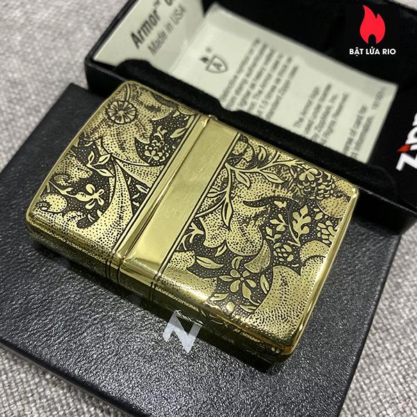 Zippo Armor Vỏ Dày Đồng Vàng Bóng Khắc Hoa Văn Luxury 4 Mặt - Zippo 169.LUXURY4M 6