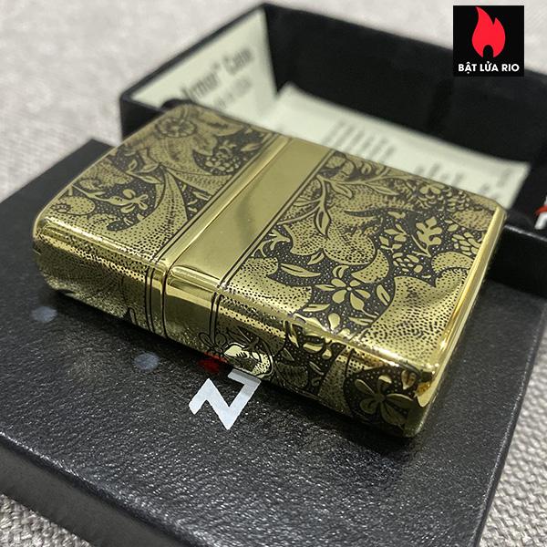Zippo Armor Vỏ Dày Đồng Vàng Bóng Khắc Hoa Văn Luxury 4 Mặt - Zippo 169.LUXURY4M 8
