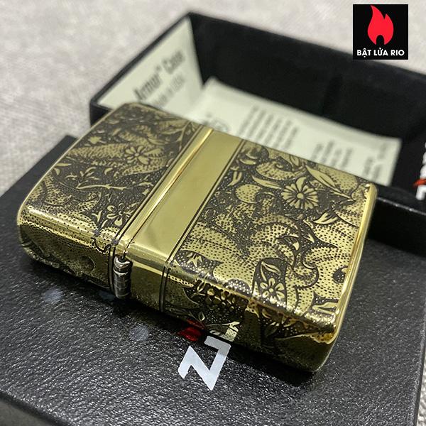 Zippo Armor Vỏ Dày Đồng Vàng Bóng Khắc Hoa Văn Luxury 4 Mặt - Zippo 169.LUXURY4M 9