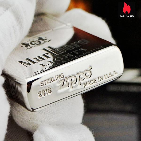 Zippo Bạc Khối 15 Khắc Logo Marlboro 5 Mặt – Zippo 15.MARL 4