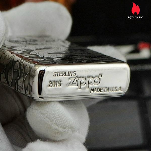Zippo Bạc Khối 15 Khắc Rồng Nhả Ngọc 4 Mặt – Zippo 15.RNN 8