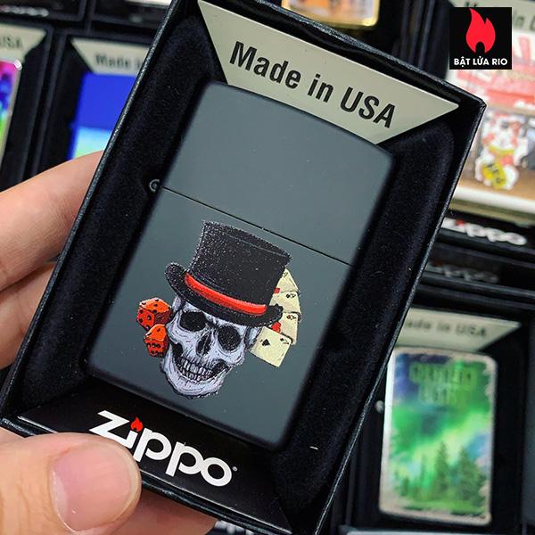 Zippo 218 Casino Skull Top Hat