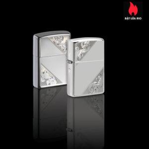 Zippo 49479 - Zippo Sterling Silver Diagonal Filigree Design 1